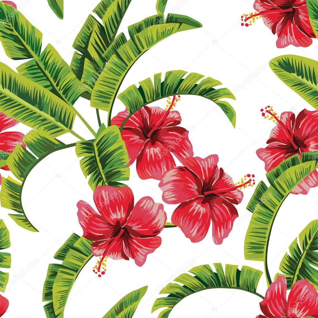 banana tree and hibiscus tropical seamless background