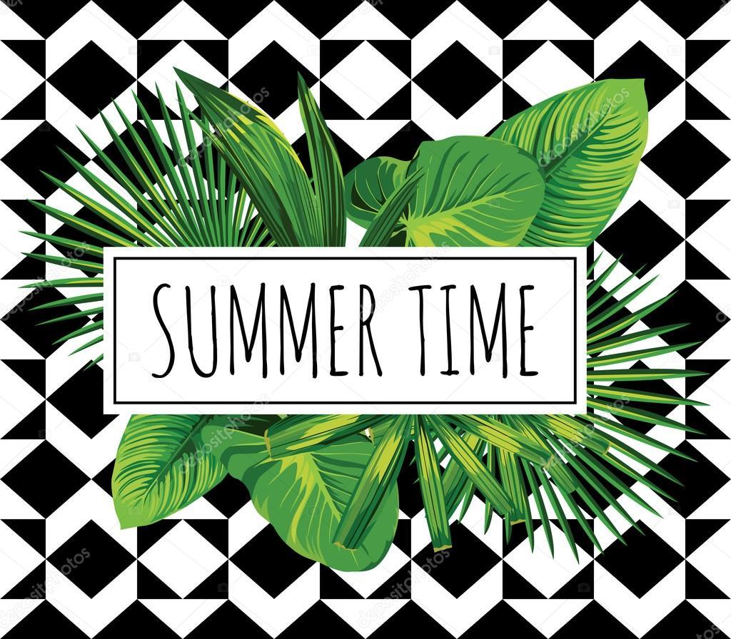 tropical print. Summer time slogan