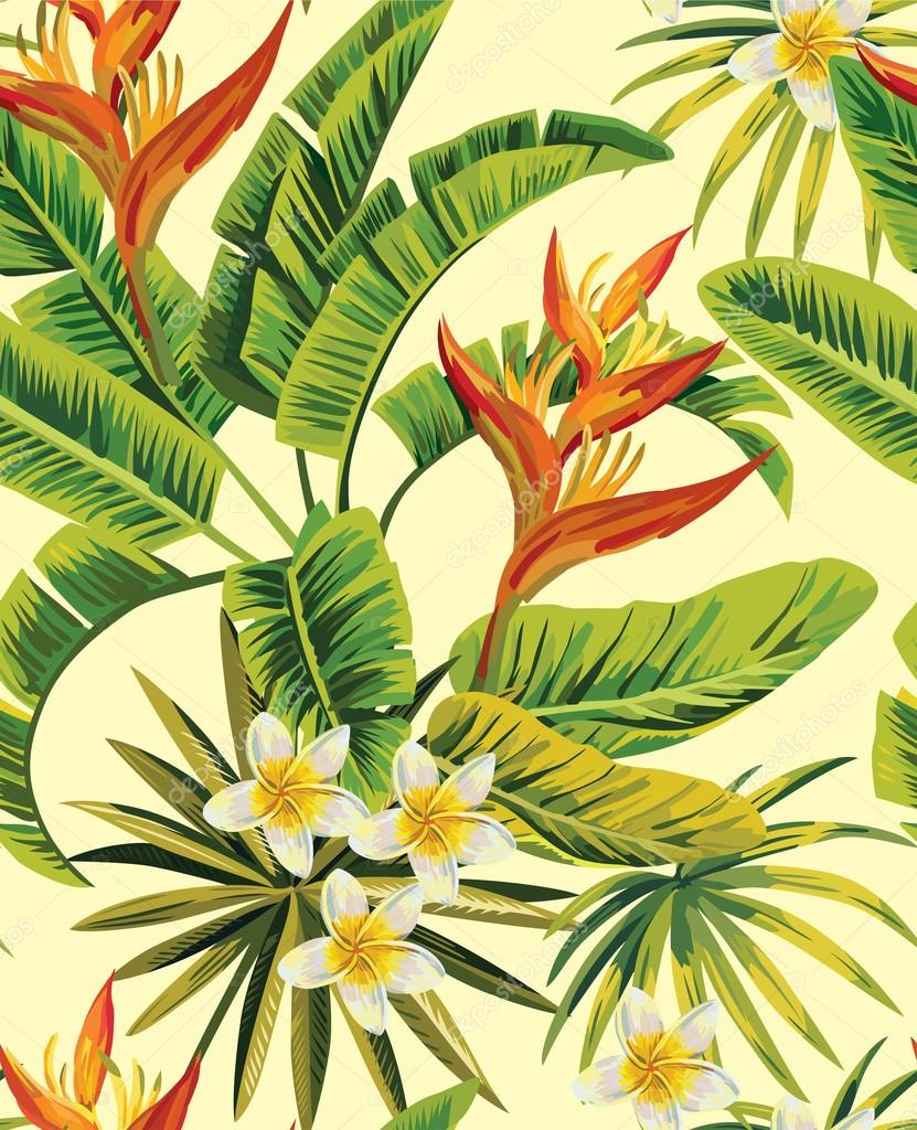 tropical plumeria exotic flowers pattern