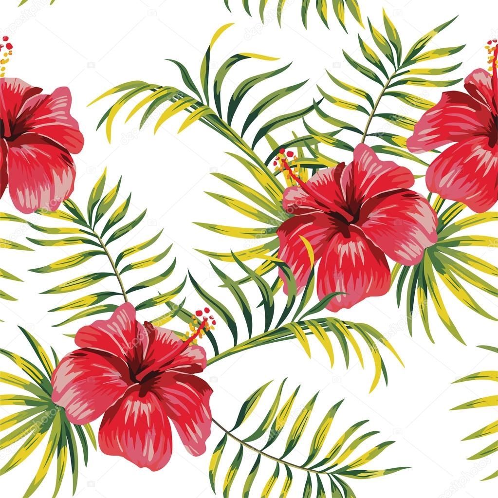 hibiscus and palm leaves painting tropical floral pattern