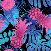 tropické ovoce a palmového listí bezešvé pozadí