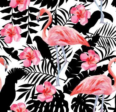 flamingo and hibiscus watercolor pattern, parrots and tropical plants silhouette background