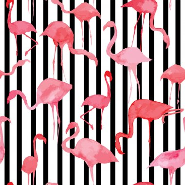 flamingo watercolor silhouette pattern, black and white striped background