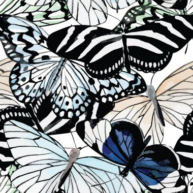 butterflies black and white watercolor seamless background