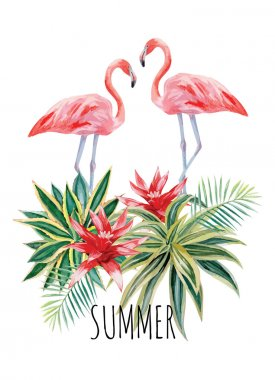 flamingo and tropical plants watercolor summer illustration