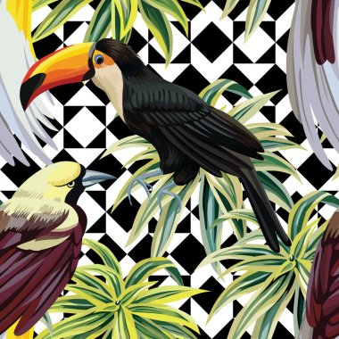 tropical birds and plants pattern, geometric background