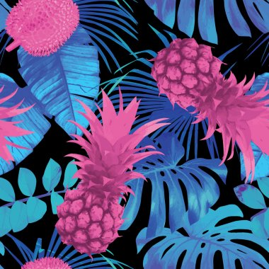 Tropical floral vector pattern stock vector