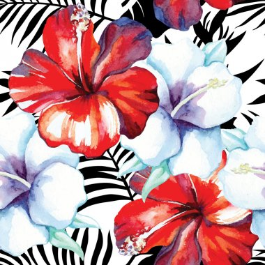 hibiscus watercolor pattern, black and white tropical leaves background