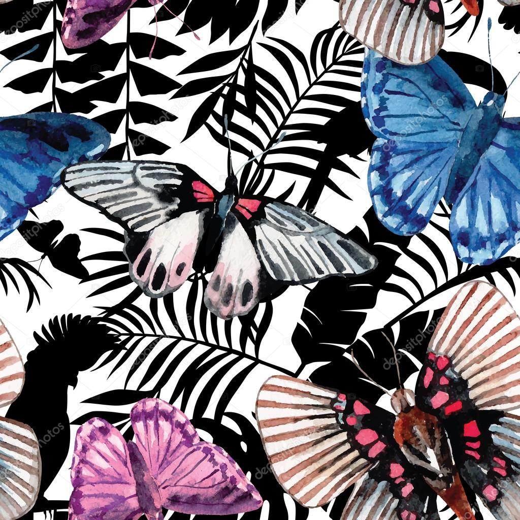 butterflies and orchid watercolor exotic pattern, graphic background