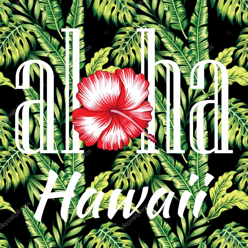 aloha Hawaii tropical illustration, palm leaves seamless background