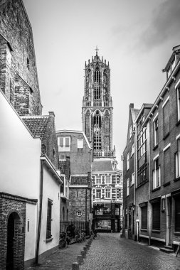 Street and Dom tower in Utrecht