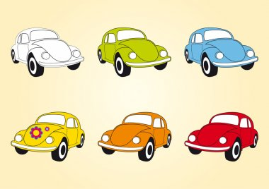Set of icons Beetle cars