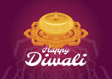 Happy Diwali Poster with candle and mandala on a purple background vector illustration. Religious Diwali festival of lights in india vector. Yellow candle and mandala icon. Indian holiday diwali vector. Important day icon