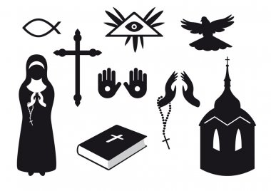 Set of Christian symbols. Traditional symbols of believers. Set of icons for believers. Set of icons. Set of religious objects. Collection of icons of Christianity. Collection gods objects. Vector icons of religion. Religious elements stock vector