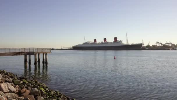 Los Angeles, USA. December 10, 2020. Beautiful view of RMS Queen Mary ocean liner in Long Beach, Los Angeles. Queen Mary is permanently moored as tourist attraction, hotel, museum and event facility.