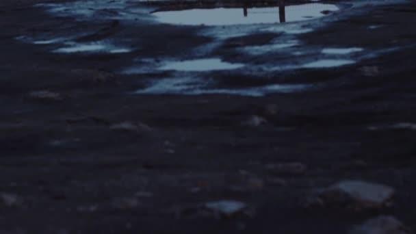 Mond reflektiert In einer Pfütze