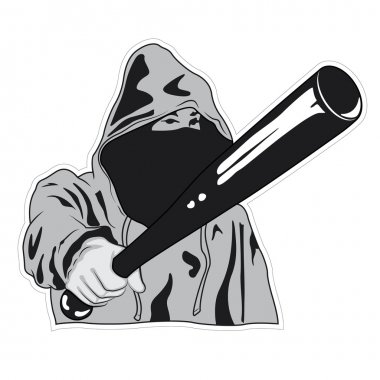 Hooligan Threatens With Baseball Bat - Vector illustration
