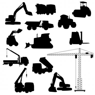 Set of Heavy Construction Machines and Equipment. Vector Illustration
