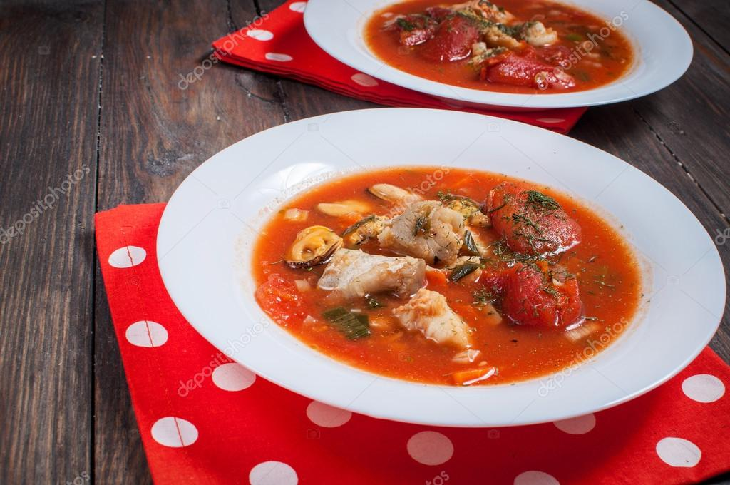 Delicious Mediterranean style tomato soup with a variety of mixed seafood