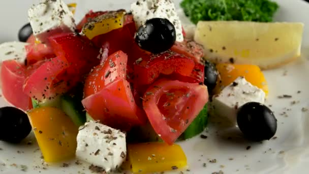 Greek salad with fresh vegetables, loop