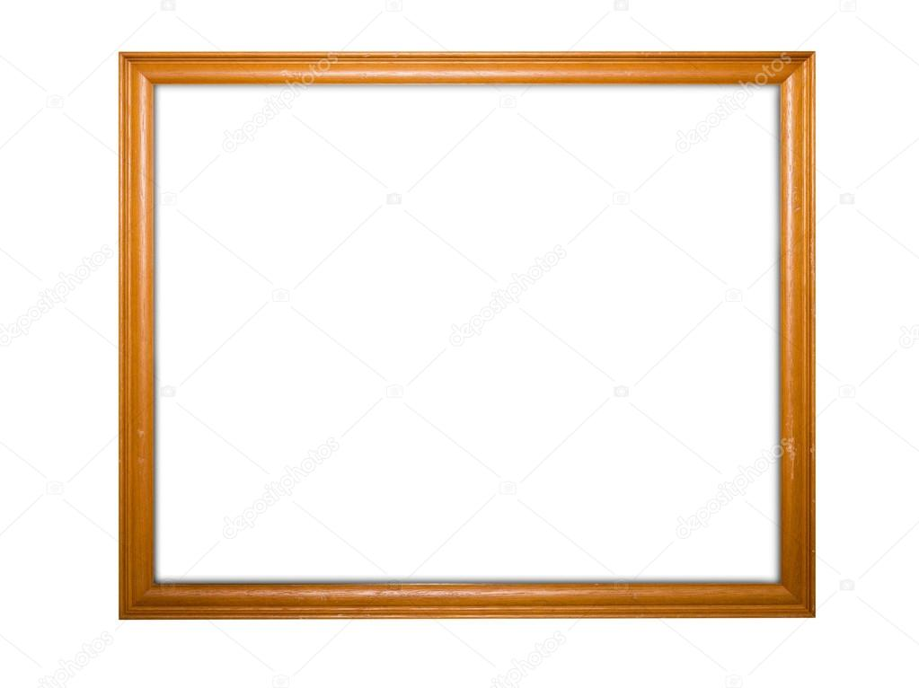 Blank signboard template for text on wooden frame, isolated whit ...