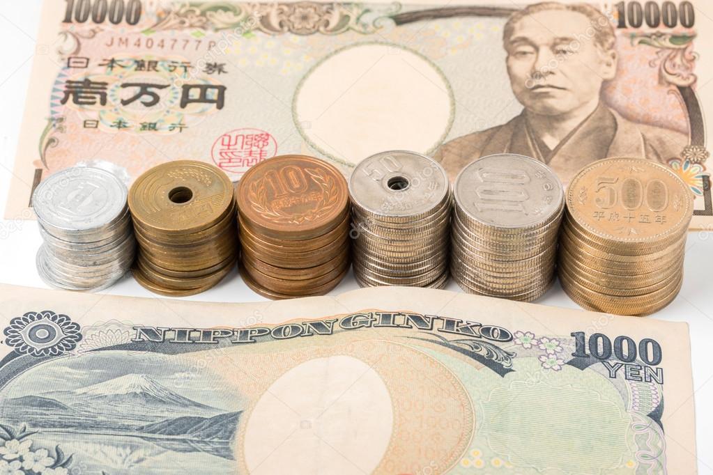 Japanische Yen Banknoten Und Münzen Finanzen Konzept Stockfoto