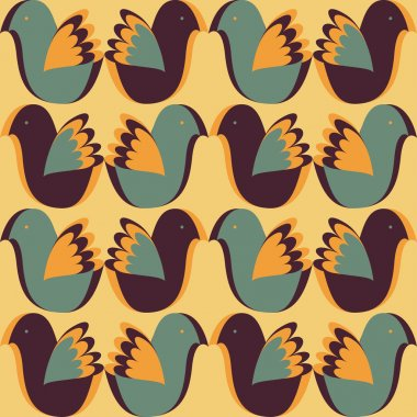Pattern with stylized birds in retro style.