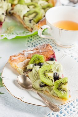 German Pancake  with whipped cream and kiwi