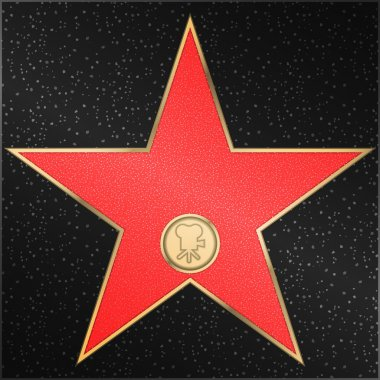 Star. Hollywood Walk of Fame - Classic film camera representing motion picture. Vector stock vector