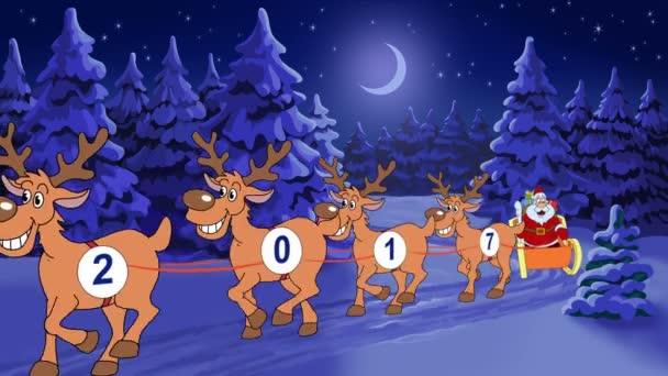 Animerade Julkort Med Seriefiguren Jultomten