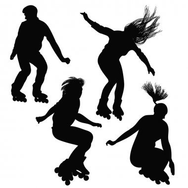 Silhouette of teenagers, jumping on roller skates
