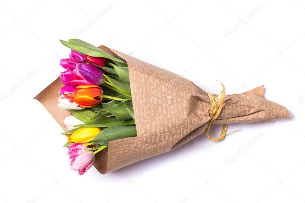 Bouquet of spring multicolor tulips flowers wrapped in gift paper bouquet of spring tulips flowers wrapped in paper isolated on white background photo by danytskuail mightylinksfo Gallery