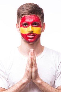 Pray of Spain. Spain football fan pray for game Spain national team on white background.