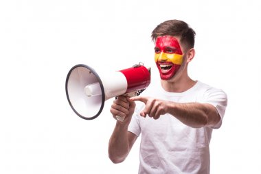 Scream on megaphone Spain football fan in game supporting of Spain national team on white background.