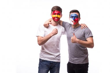Czech Republic vs Spain on white background. Football fans of national teams celebrate, dance and scream.