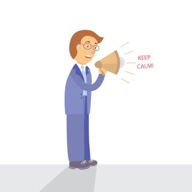 Businessman with megaphone speaking keep calm