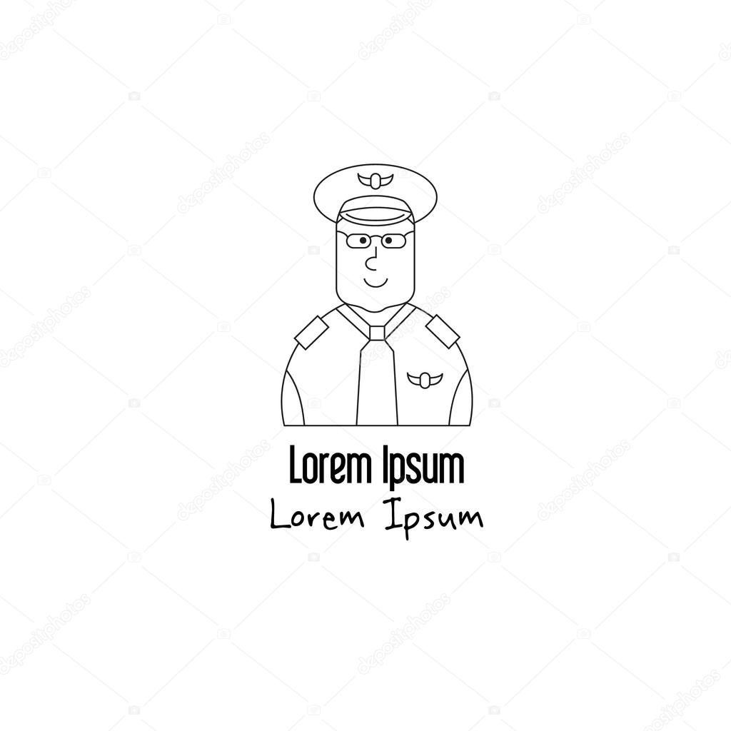unique modern logotype with pilot vetores de stock