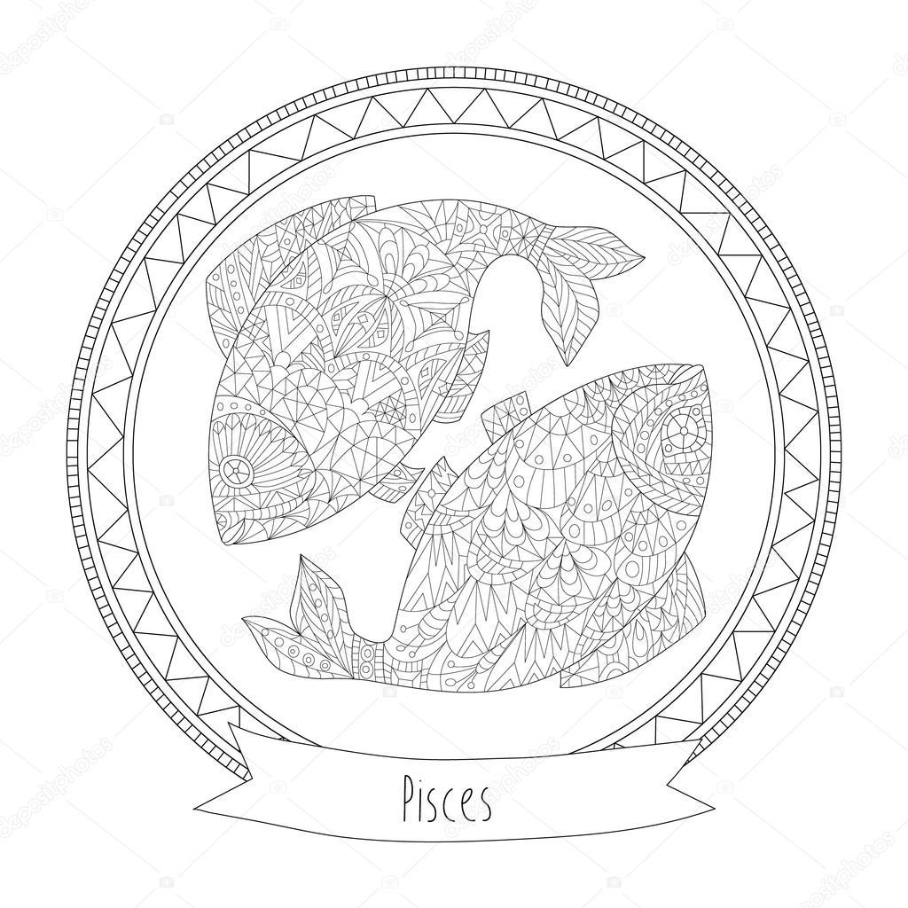 Horoscope Symbol Pisces Stock Vector Svitlanasamokhina 102180978