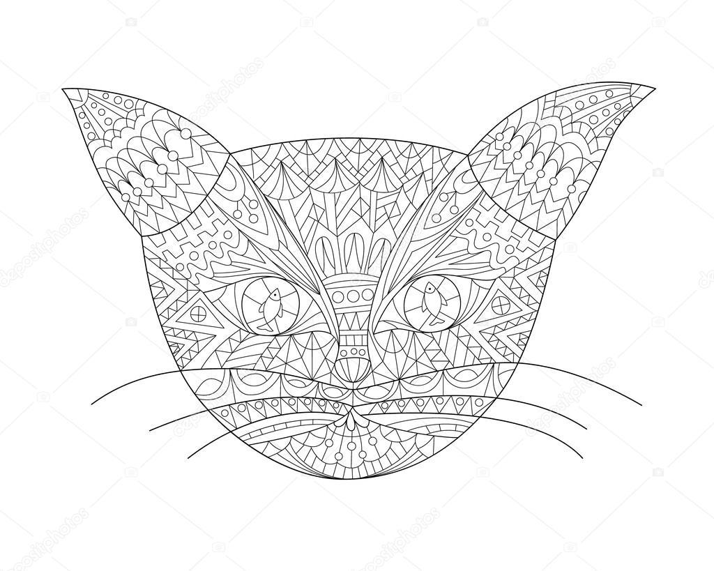 Kedi Kafa Elle çizilmiş Doodle Stok Vektör Svitlanasamokhina
