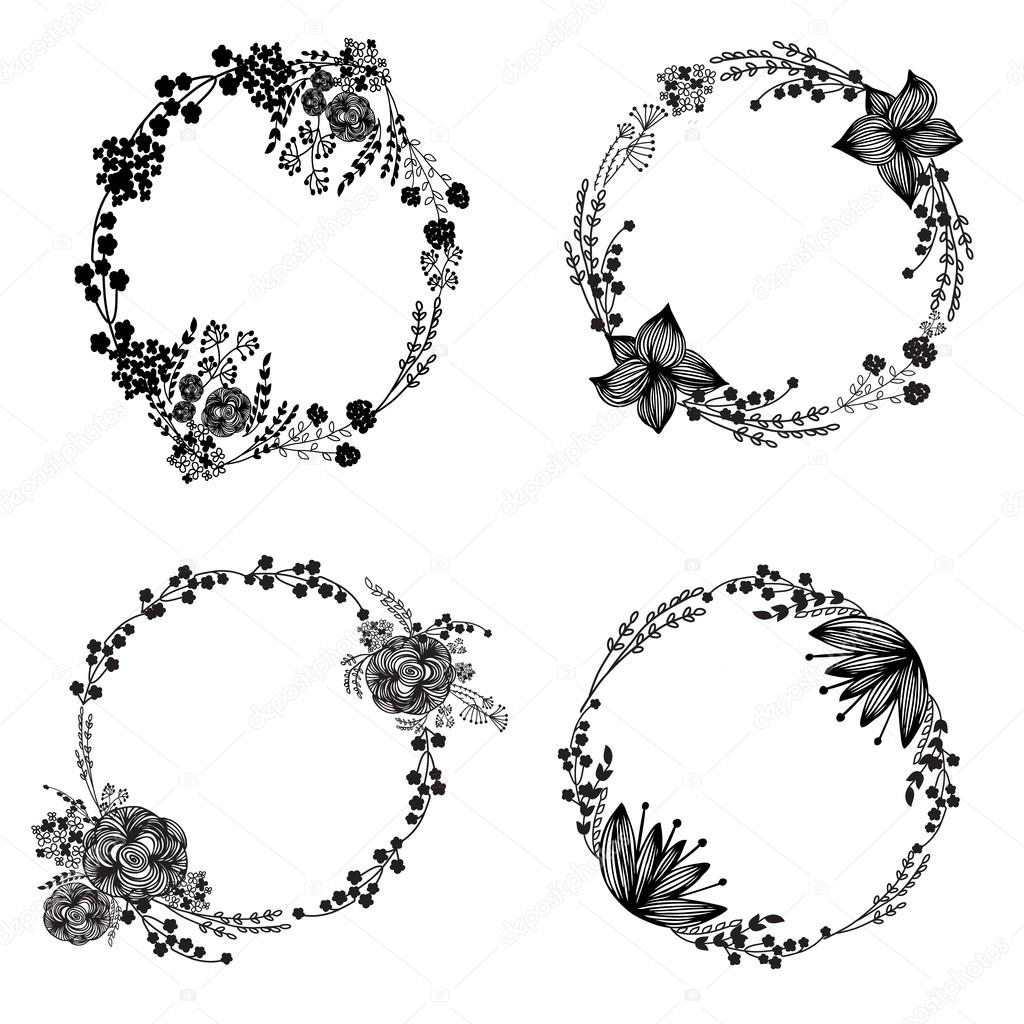Hand-drawn set of vintage floral wreathes
