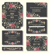 invitation cards with floral wreath