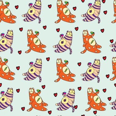 Seamless pattern with cute cats - Vector Illustration clip art vector