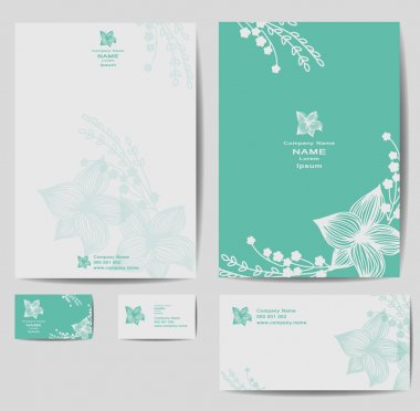 Corporate identity template with vintage flowers
