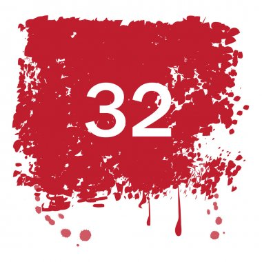red background with number 32