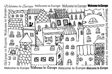 Town background design- Welcome to Europe