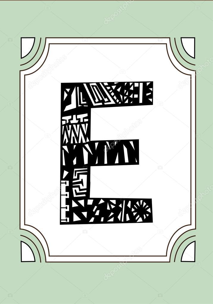 Hand-drawn letter E