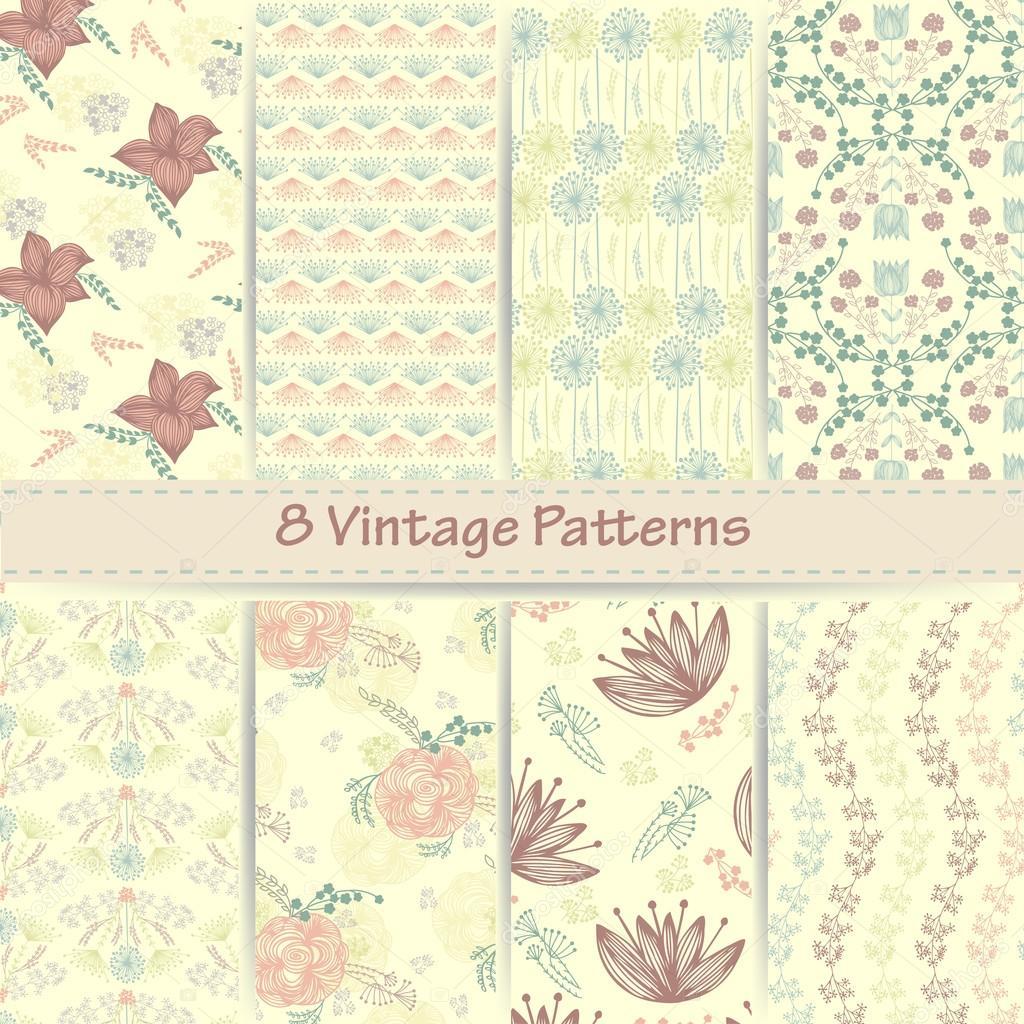 Hand drawn set of vintage floral patterns