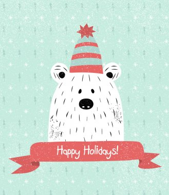 Christmas Greeting Card with teddy. Happy Holidays card. Template for Greeting Scrapbooking, Congratulations, Invitations. clip art vector