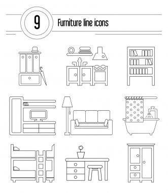 Set of interior design icons