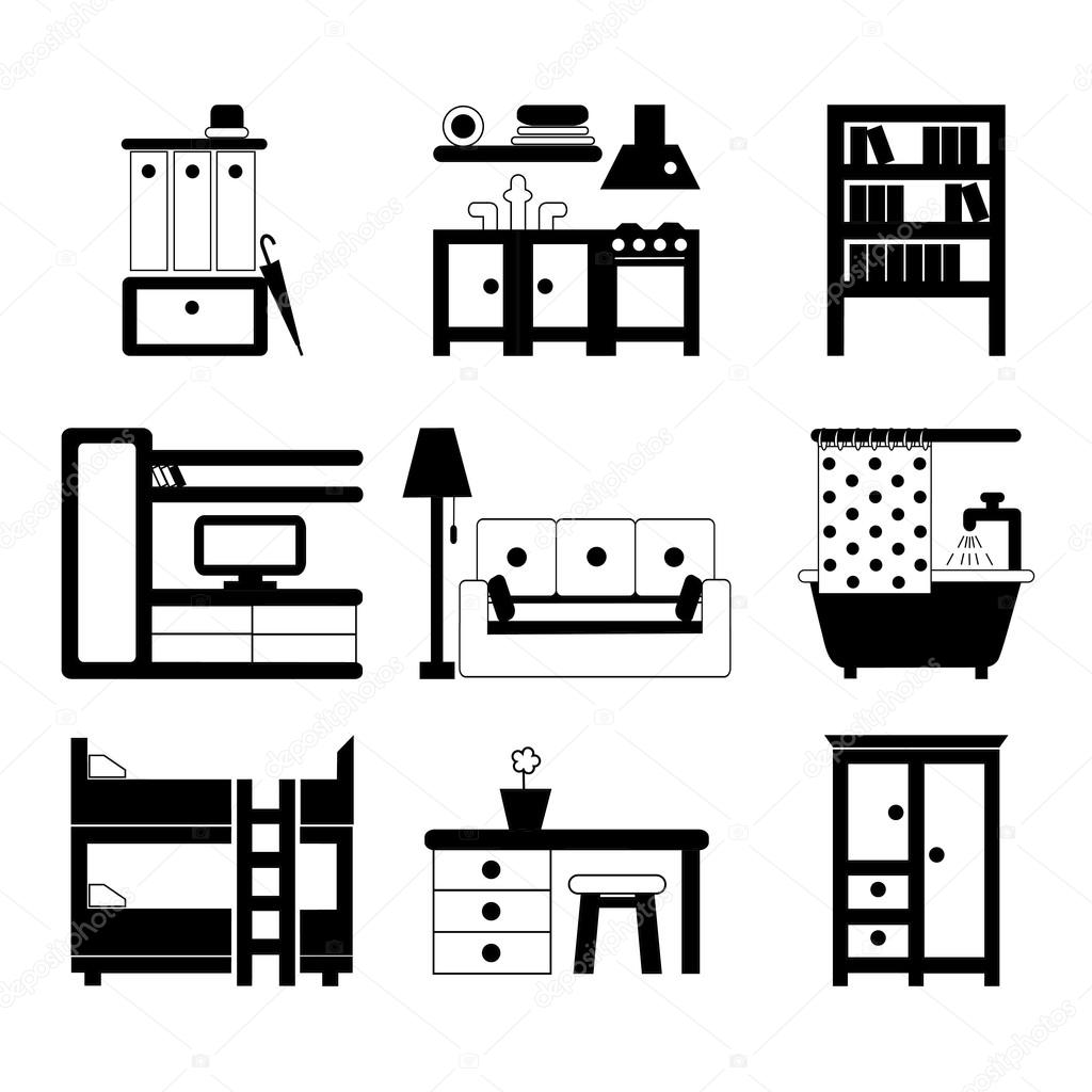 Set of interior design icons — Stock Vector © svitlana_samokhina ...